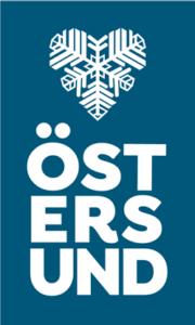 Stående version av blå Östersundslogo