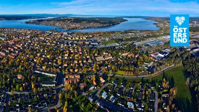 Bakgrundsbild till Teams. Flygfoto över Östersund
