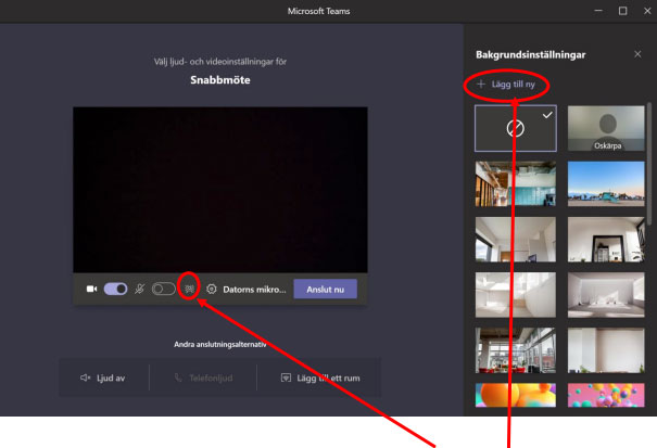 Bild som förklarar hur man lägger till bakgrundsbilder i Teams
